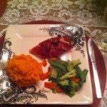 Dinner Tonight: Prosciutto Wrapped Chicken with Sweet Potato Mash and Steamed Vegetables