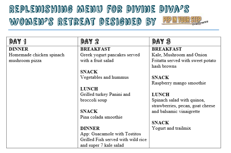 women's retreat menu